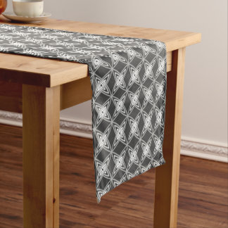 Mid Century Modern Atomic Print - Charcoal Gray Short Table Runner
