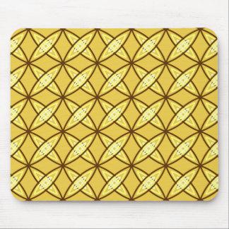 Mid Century Modern Atomic Print - Mustard Gold Mouse Mat
