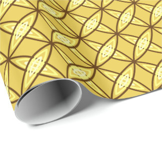 Mid Century Modern Atomic Print - Mustard Gold Wrapping Paper