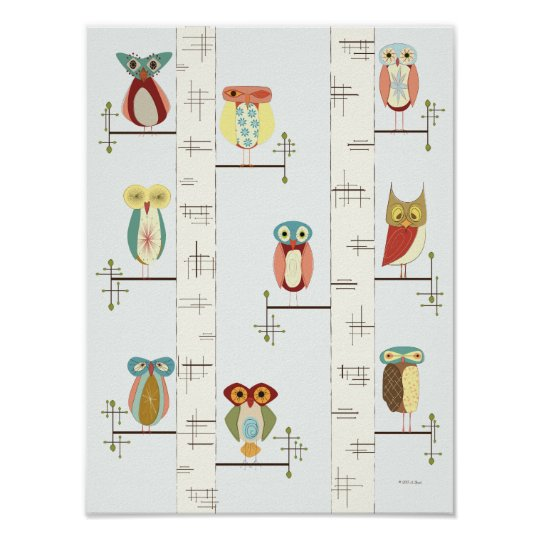 Mid Century Modern Birch Trees and Owls Poster