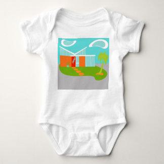 Mid Century Modern Cartoon House Infant Creeper