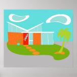 Mid Century Modern Cartoon House Poster