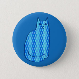 Mid-Century Modern Cat, Cobalt and Light Blue 6 Cm Round Badge