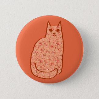 Mid-Century Modern Cat, Coral Orange and White 6 Cm Round Badge