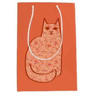 Mid-Century Modern Cat, Coral Orange and White Medium Gift Bag