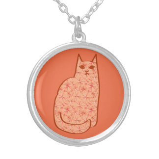 Mid-Century Modern Cat, Coral Orange and White Silver Plated Necklace