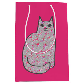 Mid-Century Modern Cat, Gray / Grey and Pink Medium Gift Bag