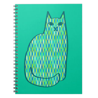 Mid-Century Modern Cat, Mint and Lime Green Notebook