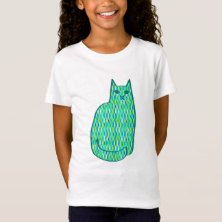 Mid-Century Modern Cat, Mint and Lime Green T-Shirt