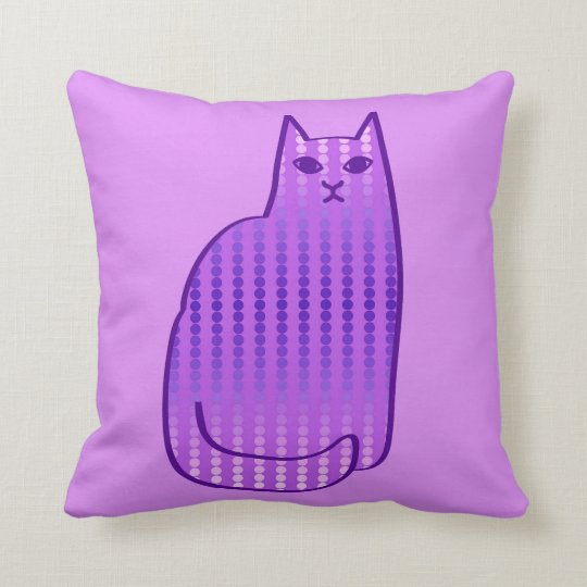 Mid-Century Modern Cat, Orchid and Violet Purple Cushion
