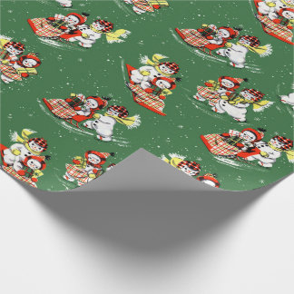 Mid-Century Modern Christmas Snowman Snow Woman Wrapping Paper