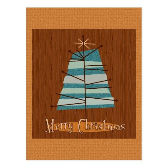 Mid Century Modern Christmas Tree Postcard