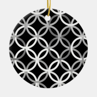 Mid-Century Modern circles, black, white and grey Round Ceramic Decoration