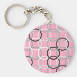 Mid-Century Modern circles coral pink and grey Keychain
