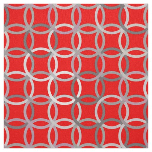 Mid-Century Modern circles, deep red and grey Fabric