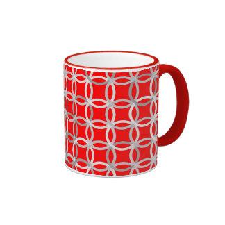 Mid-Century Modern circles, deep red and grey Ringer Mug