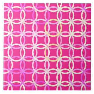 Mid-Century Modern circles, fuchsia pink and cream Large Square Tile