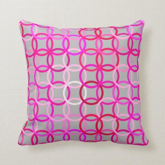 Mid-Century Modern circles, pink, magenta and grey Cushion