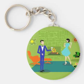 Mid Century Modern Couple Button Keychain
