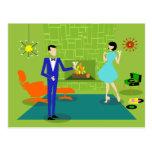 Mid Century Modern Couple Postcard