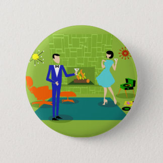 Mid Century Modern Couple Round Button