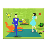 Mid Century Modern Couple Stretched Canvas Print