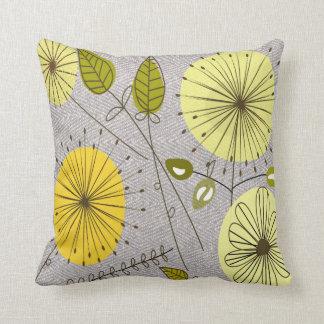 Mid-Century Modern Dandelion Clocks Yellow Cushion