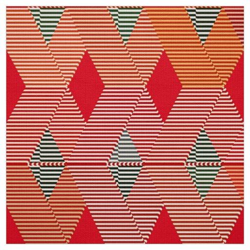 Mid-Century Modern Diamond Print, Coral Orange Fabric