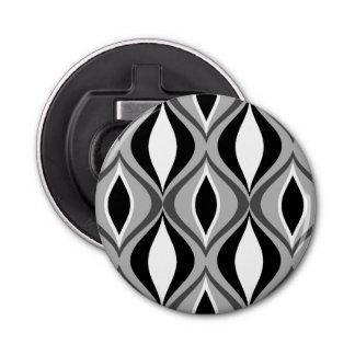 Mid-Century Modern Diamonds, Black, White and Gray Bottle Opener