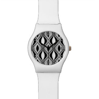 Mid-Century Modern Diamonds, Black, White and Gray Watch
