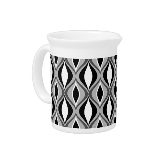 Mid-Century Modern Diamonds, Black, White and Grey Pitcher