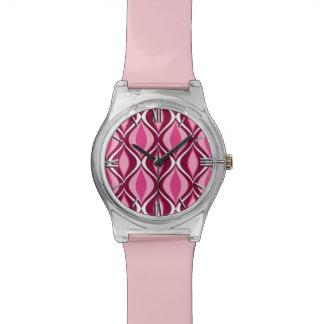 Mid-Century Modern Diamonds, Burgundy & Pink Wrist Watches