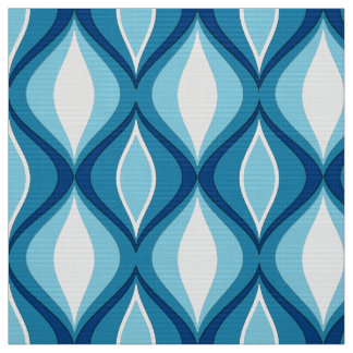 Mid-Century Modern Diamonds, Denim Blues Fabric