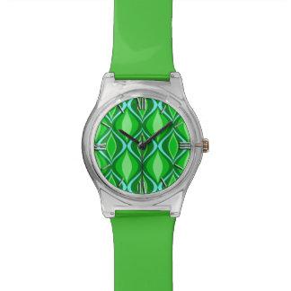 Mid-Century Modern Diamonds, Emerald Green Wrist Watch