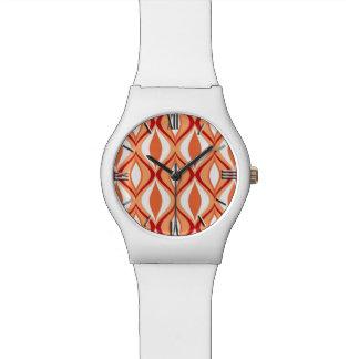 Mid-Century Modern Diamonds, Orange & White Wristwatch