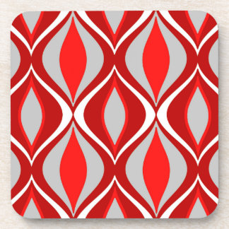 Mid-Century Modern Diamonds, Red & Gray / Grey Coaster