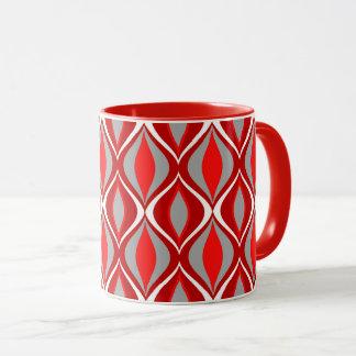 Mid-Century Modern Diamonds, Red & Gray / Grey Mug
