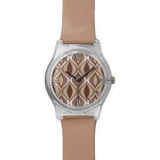 Mid-Century Modern Diamonds, Taupe and Brown Wrist Watch