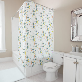 Mid Century Modern Eames Atomic Starbursts Custom Shower Curtain