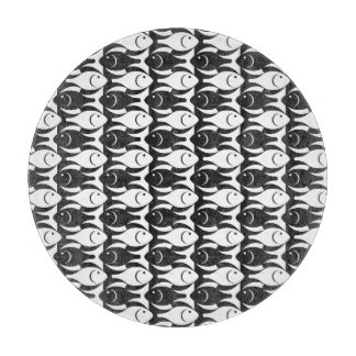 Mid-Century Modern fish, black and white Cutting Board