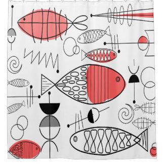 Mid-Century Modern Fish Black White Salmon Pink Shower Curtain