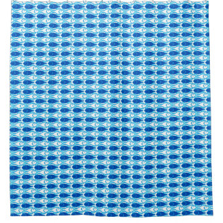 Mid-Century Modern fish, cobalt blue Shower Curtain