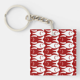 Mid-Century Modern fish, dark red and white Double-Sided Square Acrylic Key Ring