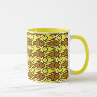 Mid-Century Modern fish, gold and brown Mug