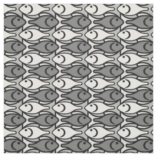 Mid-Century Modern fish, grey, white and black Fabric