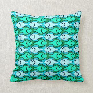 Mid-Century Modern fish, jade green and aqua Throw Pillow