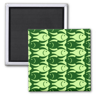 Mid-Century Modern fish, lime and dark green Square Magnet