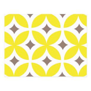 Mid Century Modern Flower Pattern Postcard
