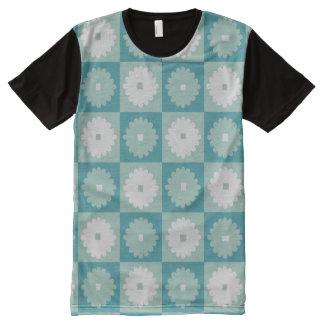 Mid Century Modern Geometric Flowers Panel T-Shirt All-Over Print T-Shirt