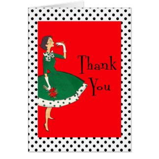 Mid Century Modern Girl Retro Holiday Thank You Card